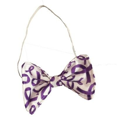 Purple Ribbon Pancreatic Cancer Alzheimer's Awareness Novelty Bow Tie Donate $$
