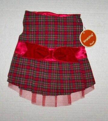 Red Plaid Christmas Holiday Dog Dress velvet bow Simply Dog Small NWT