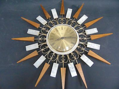 Vintage 1960s PAICO Wall Clock Sunburst Teak Brass Mother of Pearl Effect - D29
