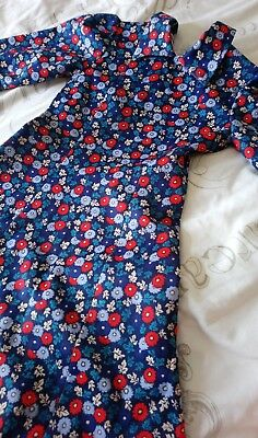 Beautiful original 1960s blue red crimplene non crease tea dress mod age 9