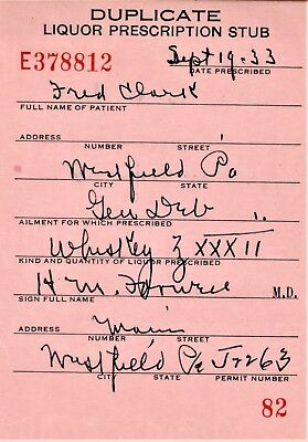 Prohibition Prescription Whiskey Old 9/19 Doctor Stub Pharmacy Westfield PA Bar