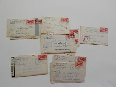 12 WWII Letters 54th Signal Battalion Censor Stamps WW2 Loma Linda California
