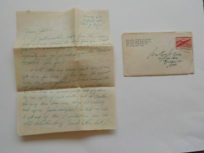 WWII Letter 1945 96th Bomb Group Brockton Massachusetts England Air Force WW2