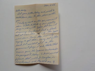 WWII Letter Pearl Harbor Would Like To Shoot Little Tokyo Los Angeles WW2 VTG WW