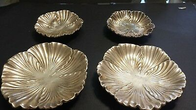185g STERLING SILVER SET4 CENTERS VINTAGE POPPY CARVING STYLE FLUTTED DECORATION