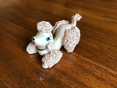 Vintage Porcelain Light Pink Spaghetti Trimmed Playful Poodle Japan CUTE! (C)
