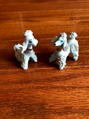 2 Darling Porcelain Blue Spaghetti Trimmed Poodles Dogs Figures CUTE! (C)