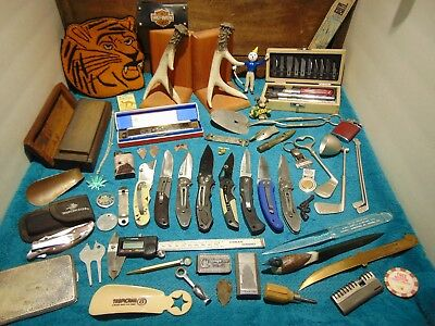 Junk Drawer Lot, Collectables, New, Old, Vintage, Knives, Lighters, + More