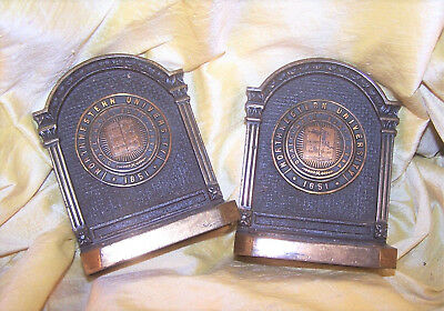 "VINTAGE Northwestern University pair of brass bookends, school seal, 4 1/2"" OLD"