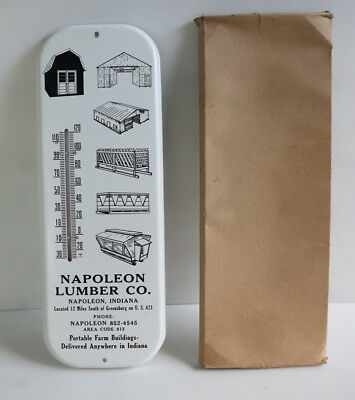 1960s NAPOLEON LUMBER Thermometer IN BOX wood Indiana
