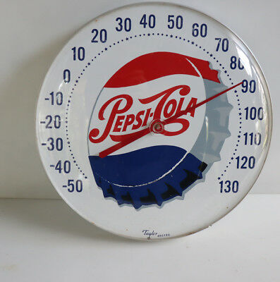 "Vintage Round 12"" PEPSI CAP Thermometer Sign  not pam"