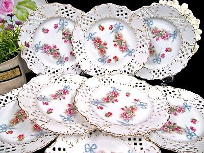 Vintage Germany set of 8 plates painted rose floral & ribbon plates open edges