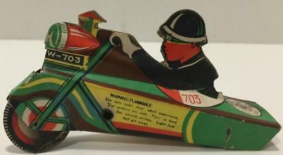 Rare Vtg Used Firecracker Toy Police On Motorcycle/Triad Brand/4th of July
