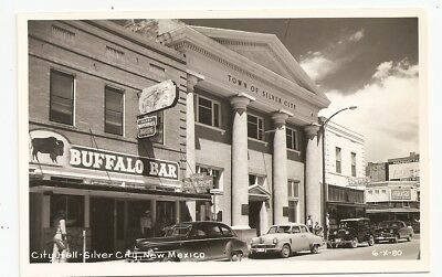 Silver City Buffalo Bar sign Harry Mitchells and Budweiser Beer NM rppc Postcard
