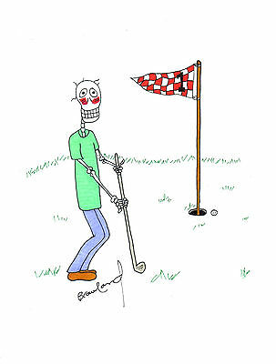 ORIGINAL ART Ink Drawing by Canadian Artist -- Skeleton Golfer on Golf Course