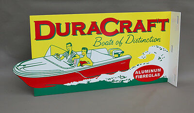 DURACRAFT BOAT SALES Diecut Flange Outboard Sign gas    Modern Retro