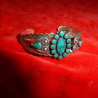 Rare Ca 1890 Native American Navajo Indian Sterling Turquoise Stone Bracelet