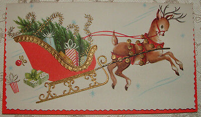 UNUSED - Gold - Reindeer Pulls Christmas Sleigh - 1950's Vintage Christmas Card