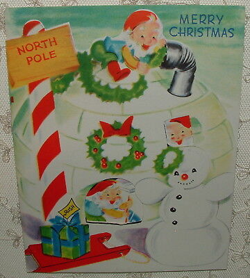 UNUSED - Peep holes - Santa w/ Elves in Igloo - 1950's Vintage Christmas Card