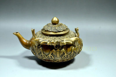 Handwork Carved Old Copper Coins Teapot Brass Qing Dynasty Mark Dragon handle