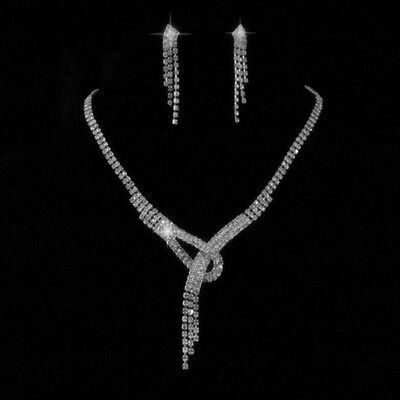 Wedding Party  Tie Crystal  Necklace Earring  silver  plated  Jewelry N147