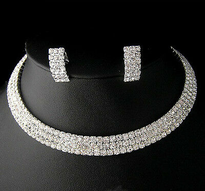 Wedding Bridal Party crystal necklace earring GP Silver Jewelry set N131