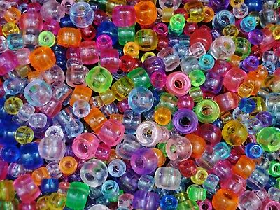 Pony Beads 300pc Transparent Mix Asst Size Kids Hair Jewelry Craft FREE POSTAGE