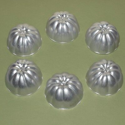 6 x Vintage Individual size Aluminium Flower Jelly Moulds