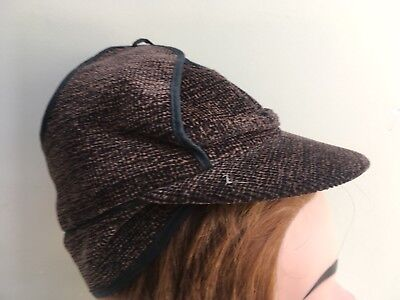 1940s Evacuee WW2 Period Childs Boys Brown Deerstalker Type Cap. NOS