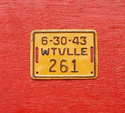 1943 California WATSONVILLE Nice Original BICYCLE # 261 License Plate