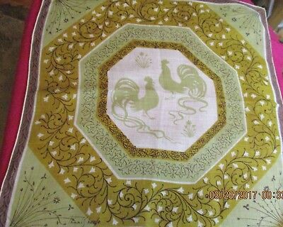 Vintage Tammis Keefe Soft Cotton Handkerchief Roosters in the Field Green Brown
