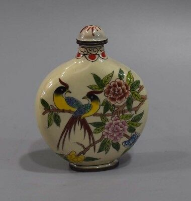 Chinese exquisite handmade products Birds and flowers Cloisonne snuff bottle