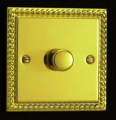 Varilight 1 Gang 1 or 2 Way 400W Push on/off Dimmer Light Switch Georgian Brass