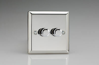 Varilight 2-Gang 1-Way Rotary Dimmer Light Switch 2 x 40-250W Mirror Chrome HC2
