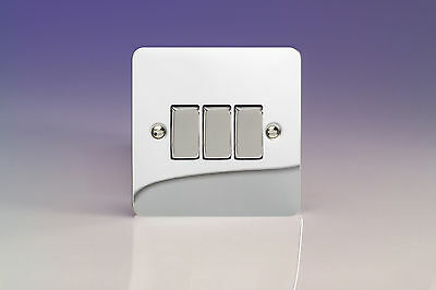 Varilight 3-Gang 10A 1- or 2-Way Rocker Light Switch Polished Chrome XFC3D