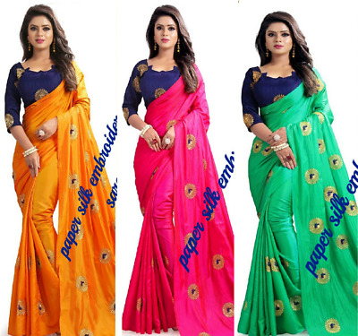 Wedding Embroidery Paper Silk Fabric Sari with Blouse available in three colors
