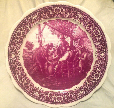 """Vintage Delfts Boch Red 15 3/8"""" Wall Plate / Charger  - Gathering"""