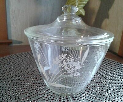 "Vintage Crystal ""sheaves Of Wheat"" Fire King Grease Jar With  Lid"