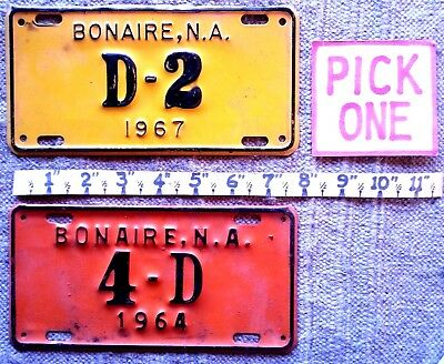 BONAIRE License Plate PICK ONE: motorcycle 1964 or 1967 -  LOW SHIPPING