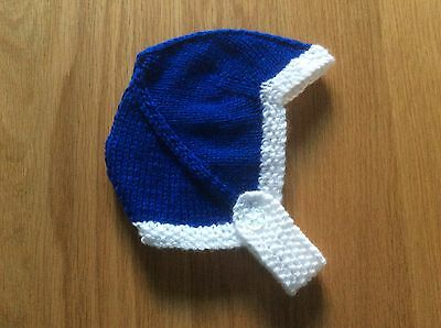 HAND KNITTED BABY HAT - BIRTH TO 3 MONTH BLUE & WHITE - CHELSEA, EVERTON etc.