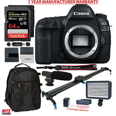 Canon EOS 5D Mark IV SLR Camera Body with Polaroid Track Slider Accessory Bundle