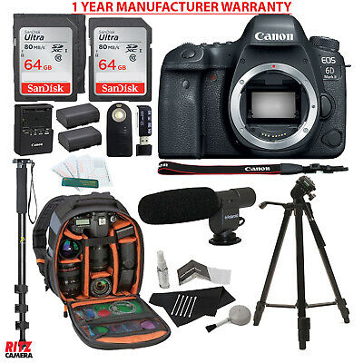 Canon EOS 6D Mark II DSLR Camera Body + 64GB + Backpack + Manufacturer Warranty