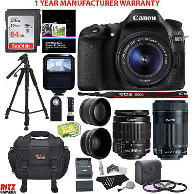 Canon EOS 80D DSLR Camera + EF-S 18-55mm + 55-250 Lens + MANUFACTURER WARRANTY