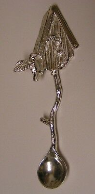 Salt Spoon Sterling Silver (  Bee & Hummingbird )