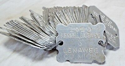 Lot of 37 Old Antique 1920s-30s KENNEL LICENSE DOG TAGS Lenawee County, Michigan