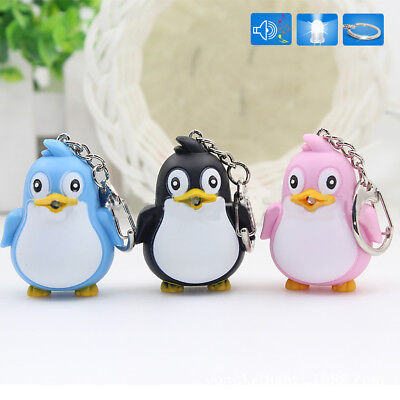 Animal Penguin LED Light with Sound Key Chain Key Ring Torch Xmas Gift Hot