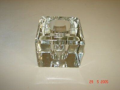 """Nice Old Clear Glass Square Inkwell, 3 1/8"""" Square and 2 3/4"""" High"""
