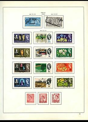 GB Used Comemoratives 1963-1964 Album Page Of Stamps #V6835