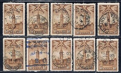 Canada #O257(3) PERFIN 1942 10 cent Parliament Buildings O.H.M.S. 10 Used