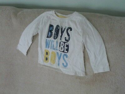 Boys 2-3 Years - Off-White Long Sleeve Top - 'Boys will be Boys'